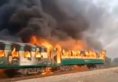 Fire on moving train kills 65 passengers in central Pakistan